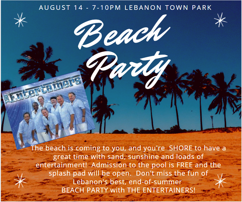 Beach Party, palm trees, night sky, The Entertainers