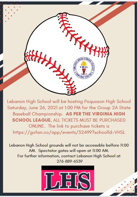 VHSL State Baseball Championship game information