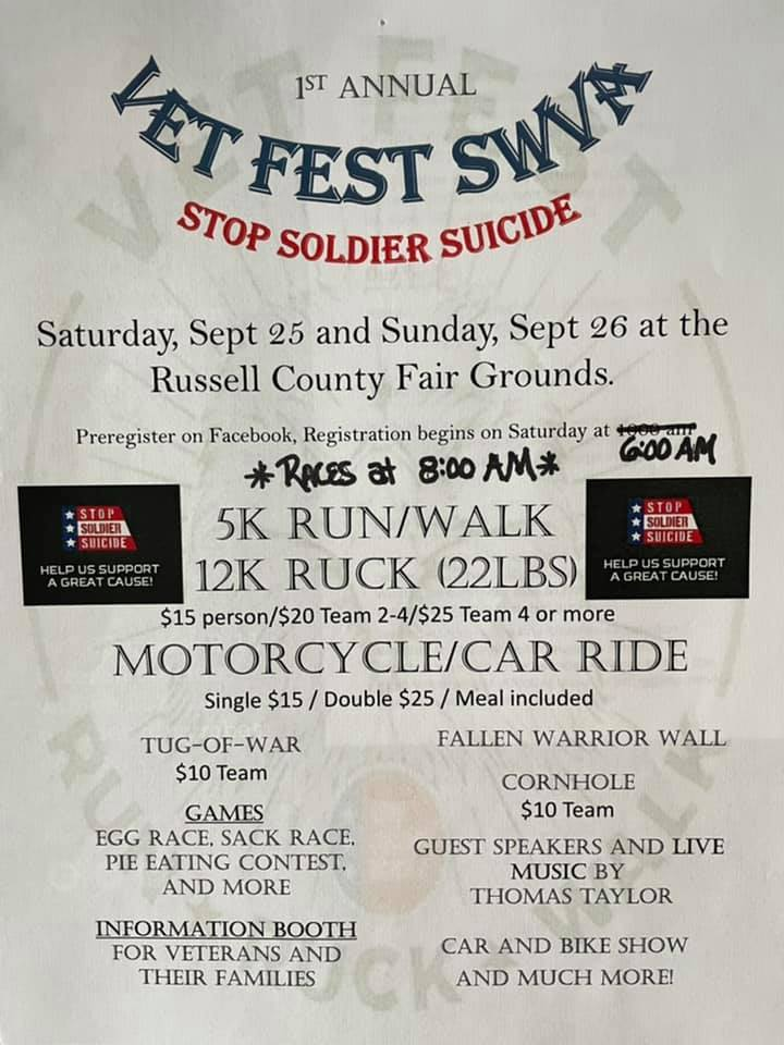 Vet Fest SWVA Stop Soldier Suicide weekend events - Saturday September 25th and Sunday September 26th